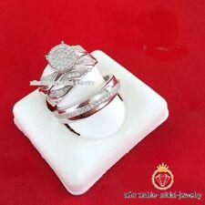 2.50 Carat Round Cut Diamond Matching Trio Wedding Ring Set 10K White Gold Over