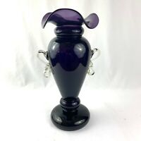 Vintage Purple Amethyst Hand Blown Art Glass Fluted Vase Two Handles Heavy 17""