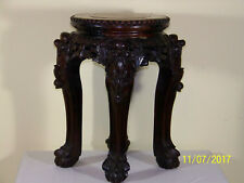 Chinese Qing Dy Hand Carved Floor Wood Vase Stand Stool Plant w/Marble Top