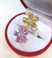 CITRINE, PINK TOPAZ & SAPPHIRE RING 7.32 CTW sz 7.5 - WHITE GOLD over 925 SILVER