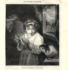 Stampa antica RAGAZZA CON GATTO E TOPOLINO Reynolds 1870 Old antique print