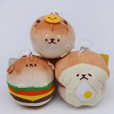 "3PCS Toasts Yeast Ken Bread Dog Hamburger Soft Plush Doll Keychain Charm 3.9"""
