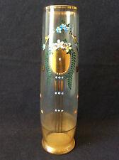 Vase verre décor émaillé peint doré milieu XIXème H25cm anonyme belle qualité