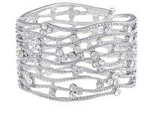 Inspire Silver tone Crystal Rhinestone Ocean Wave Bracelet Bangle Cuff Jewelry