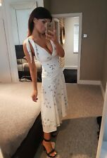 Amazing White Chiffon Plunge Bird Print Tie Up Shoulders Maxi Dress! Size 8-10