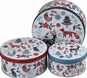 Festive Wildlife Animals Christmas Baking Cake Tins (Set of 3)
