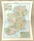 Antique Map of Ireland Eire Irish Counties Wicklow Belfast Limerick Kerry 1893