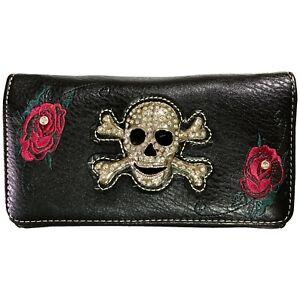 Skull Crossbones Rose Flower Crossbody Trifold Black Wallet for Women