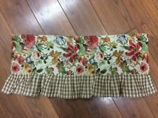 """JC PENNEY HOME COLLECTION VALANCE FLORAL CHECK FRUIT  53"""" X 12"""" BEIGE RED GREEN"""
