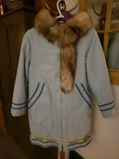Vintage Hudson's Bay Co. Pure Wool Inuvik Fur Trimmed Parka Shell ,Blue Size 10