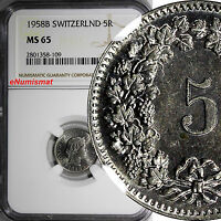 SWITZERLAND Copper-Nickel 1958 B 5 Rappen NGC MS65 HELVETICA  KM# 26