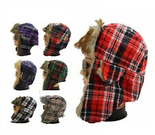 New Mens Womens Russian Winter Warm Trapper Hats With Tartan Print & Fur