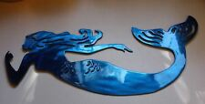"""Swimming Mermaid Metal Wall Art blue 12"""" x 5"""""""