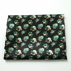 By Yard Retro Floral Charmeuse Fabric Silky Satin Material Lining Decorations
