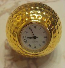 GOLD GOLF BALL CLOCK PAPER WEIGHT DESK