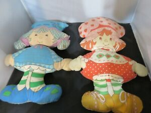 Lot of 2 Vintage Strawberry Shortcake Dolls Pillow handmade 1980's - TLC edition