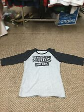 Pittsburgh Steelers Gray Nike 3/4 Sleeve Shirt Girls Medium Excellent Condition