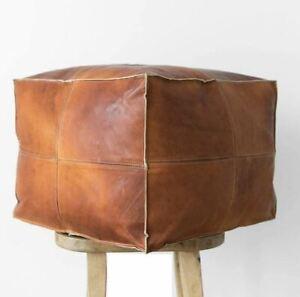 Square Moroccan pouf genuine leather