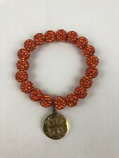 Rustic Cuff Emerson Bracelet - Orange Beads With Gold Charm Small