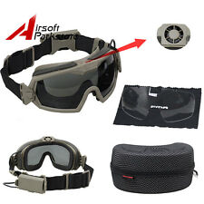 Airsoft Tactical Military 2 Lens Anti-Fog Dust Safety Regulator Goggles With Fan