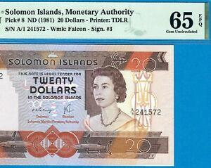 SOLOMON ISLANDS-20 $-1981-PREFIX A/1-S/N 241572-P.8 **PMG 65 EPQ GEM UNC*SCARCE*