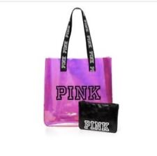 Victoria's Secret Pink Iridecent Tote + Pouch Brand New Pink