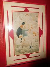 VINTAGE ART DECO FRAMED CLOWN GHOSTS PRINT SIGNED OWEN DIE CUT MATTING UNIQUE