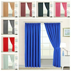 Pencil Pleat Blackout Pair Curtains For Hook & Pole Bedroom Living Room Curtains