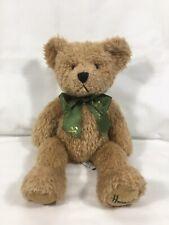 Harrods Knightsbridge Teddy Bear Plush Brown Beige Green Ribbon Bow 14 inches