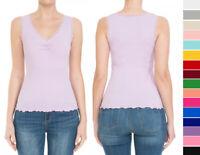 S M L Women's Basic Lace Trim Cotton Tank Top V-Neck Sleeveless Knit Casual