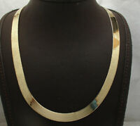 Technibond 9mm Herringbone Chain Necklace 14K Yellow Gold Clad Sterling Silver