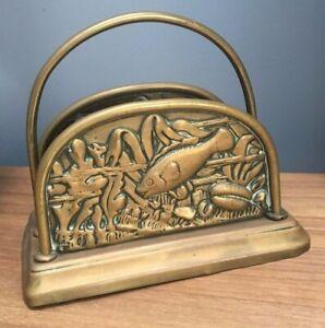 ANTIQUE 1890s ARTS & CRAFTS BRASS LETTER RACK~FISH, SHELLS AQUATIC DECORATION