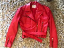 Melanzona Bergdorf Goodman Red Leather Moto Jacket . Size 4.