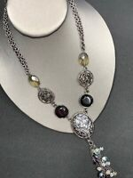 Vintage Necklace Signed Chicos Pendant Gunmetal Gray Black Crystal 2 Strand 16""