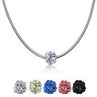 Schlangenkette 55cm + Shamballa Perle Kugel Halskette Edelstahl-Kette Damen