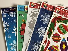 6 Christmas Winter vinyl Window Clings Peanuts Snowflakes Ornaments foil Snowmen