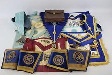 16 x Assorted Vintage Masonic Regalia Inc Aprons, Collars, Jewels, Cuffs Etc