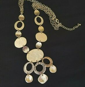 CHICOS Necklace Metal Gold Tone Silvertone Circle Discs Hammered Chain Statement