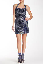 NWT $359 Anthropologie Anna Sui STARS STRIPES indigo Silver Foiled Dress,sz.10/M