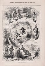 OLD ANTIQUE 1879 PRINT SHOOTING INCIDENTS OF SPORTS IN INDIA b118