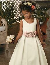 Sweet Beginnings Jordan Flower Girl DRESS 6 Ivory white pink Satin Sleeveless