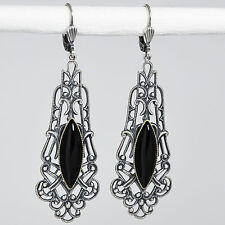 Ohrringe Ohrhänger lang Silber Glasstein – Gothic Vintage retro – Jet – schwarz
