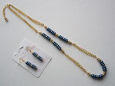 Chain Necklace and Earring Set Blue Pearls, Rhinestone, and Gold