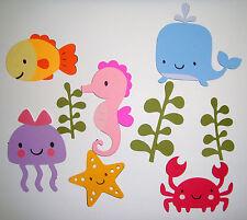 Cute Animals Ocean Fish Seahorse Crab Lot Die Cut Paper Scrapbook Embellishment