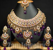 Kundan Neo Jodha Akbar Bollywood Traditional Indian Jewelry Set S40 Violet