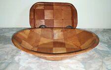 Vtg Wood Checkerboard Pattern Bread/ Roll Basket w/Small Matching Tray