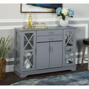 Buffet Cabinet Kitchen Dining Room Storage Organizer Sideboard Console Grey Gray