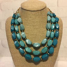 Chunky Aqua Blue Ombre Beads Triple Strand Goldtone Necklace