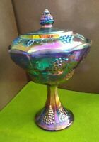 Fenton Turquoise Carnival Glass Fenton Candy Dish & Lid Grapes And Vines