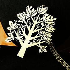 Retro Fashion Charm Bronze Bird Tree Letter Pendant Necklace Long Sweater Chain